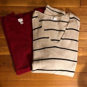 Lot of 2 waffle v-neck sweaters